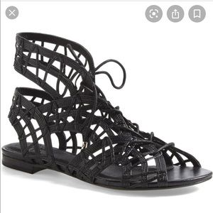 Joie Renee Caged Gladiator Sandals Black Leather